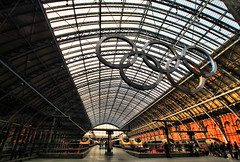 St Pancras Station in London (` Toshio ') Tags: greatbritain england people building london clock station architecture train europe unitedkingdom perspective royal trainstation olympics royalty europeanunion toshio highspeedrail stpancrasstation