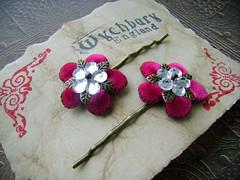 Rose and Rhinestone Tudors (Wychbury Designs) Tags: uk pink flower rose bronze hair handmade clips jewelry pins medieval tudor jewellery bobby accessories etsy rennaisance folksy wychbury