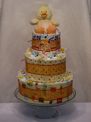 Three Tier Yellow & Orange Cake for Girl or Boy (front) (taniamc) Tags: boy orange baby cute chicken girl yellow cake shower three duck anyone unique craft diaper blankets tier taniamc curiouscakeshoppe