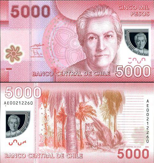 5000 pesos Chile 2009 polymer