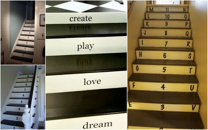 Letters and Numbers on Stairs