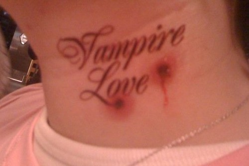 vampire bite tattoos. a fake vampire bite tattoo