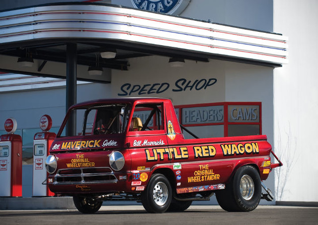 street original red hot classic wheel race truck wagon drag stand bill cool little pickup icon racing retro dodge rod americana custom iconic 1320 rare kool wheelie a100 1965 maverick littleredwagon nhra kustom stander 14mile racr 11second 1965dodgea100pickuptruck