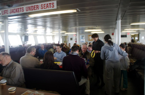 Family of crafters on the ferry