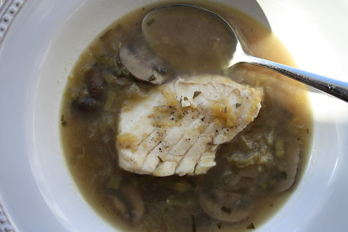 Braised Halibut with Mushrooms and Leeks