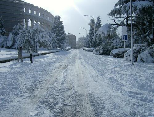 Roman amphitheater under snow