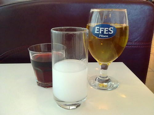 From left: cherry juice, raki, and Efes beer