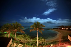 Night Descends (laszlo-photo) Tags: trees sky beach night clouds stars hawaii oahu palm clear turtlebay