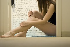 self. (A.E. Fischer) Tags: portrait feet girl self bathroom hands alone legs skin nick bad pale seeds nails cave lovely