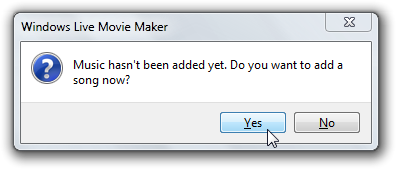 Windows Live Moviemaker Automovie prompting for music