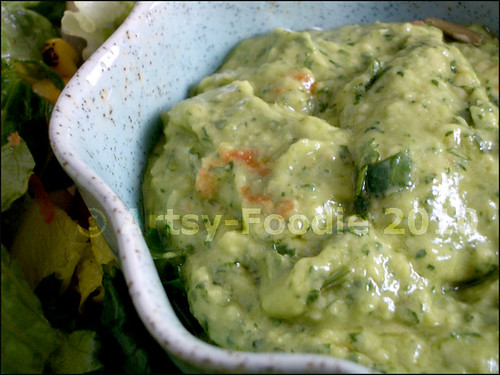 avocado salad dressing close up