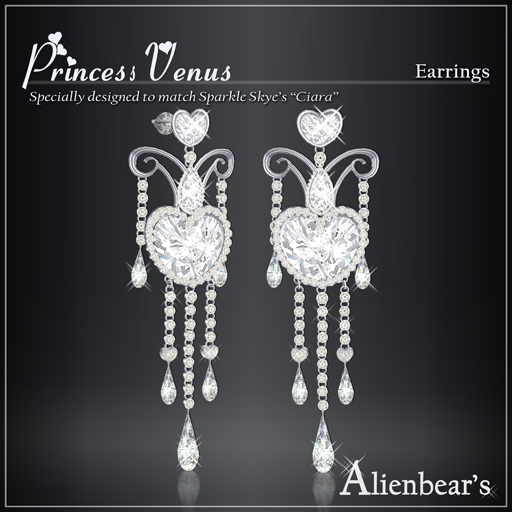 Princess Venus earrings white