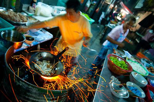 Making kuaytiaw khua kai at Nay Hong, a restaurant in Bangkok