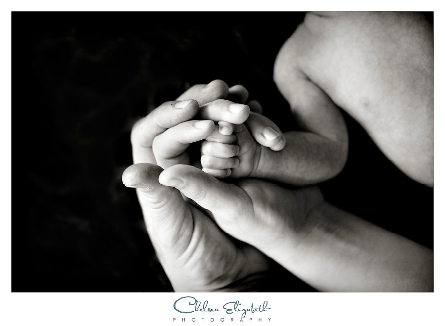 Black and white newborn parents hands and fingers portrait