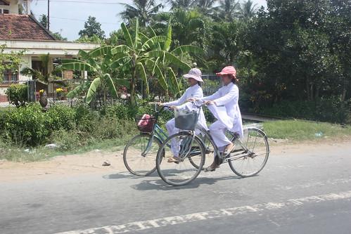 Girls in their silk school uniforms