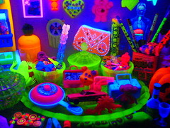 UV Cabinet! (Rainbow Mermaid) Tags: light black colour glass toys neon glow bright display uv violet plastic fluorescent blacklight uranium colourful psychedelic ultra luminous vaseline rainbowmermaid