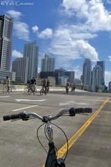 Buscando un camino lleno de esperanza (Yali Carames Photography) Tags: street bridge blue sky usa bike bicycle azul buildings puente calle bicicleta cielo miam mywinners edificiosusa