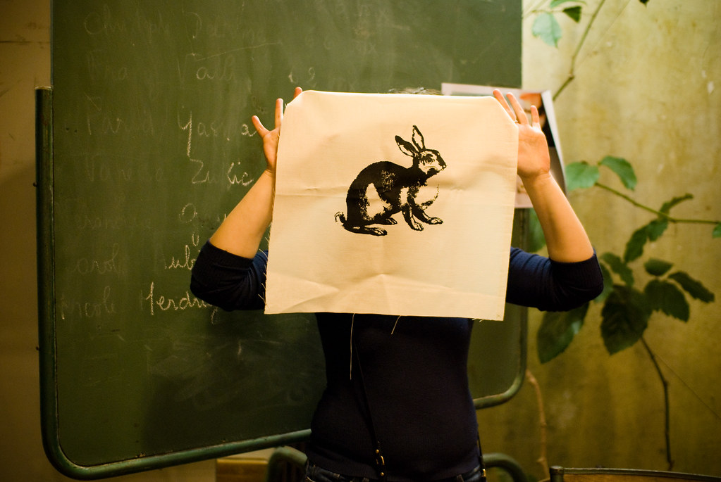 Lapin sérigraphié - craft night d'Etsy