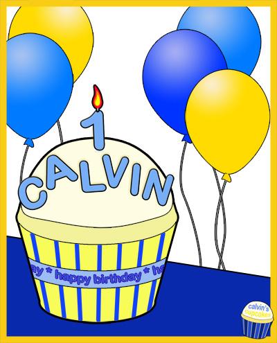 Calvin's 1st Birthday Cupcake