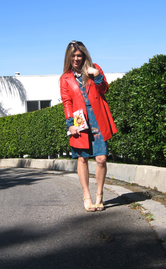 coral red leather vintage coat 70s shirt dress -4