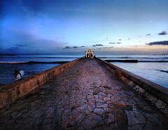 Waikiki Beach Pier, Hawaii (` Toshio ') Tags: ocean sunset people cloud sun water hawaii pier sand colorful surf pacific waikiki oahu surfer crowd wave tourists gazebo hawaiian honolulu bluehour aloha hdr highdynamicrange mahalo toshio waikikibeachpier
