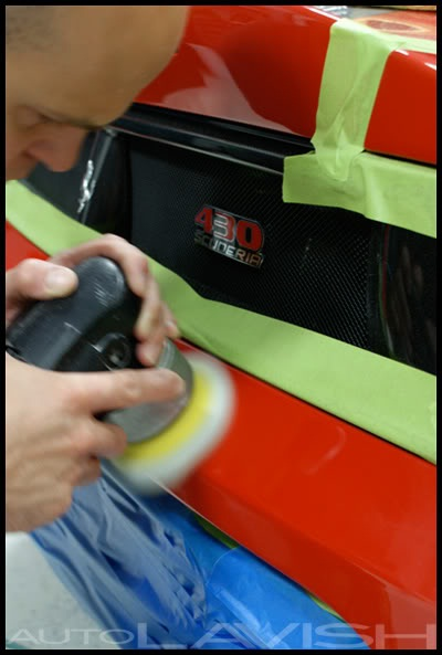 correcting the paint of a ferrari