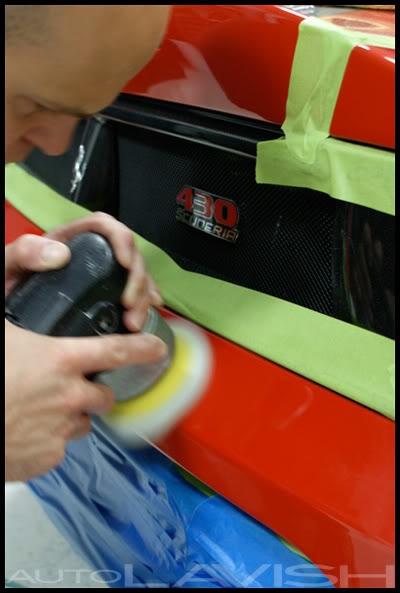 correcting the paint of a ferrari