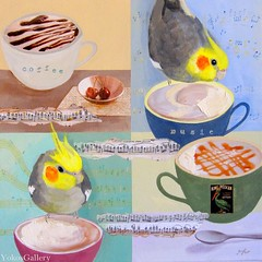 Coffee & Music (YokosGallery) Tags: original portrait music pets art cup coffee birds collage glitter pen painting cafe acrylic notes turquoise parrot canvas cockatiel etsy lightblue papermusic yokosgallery