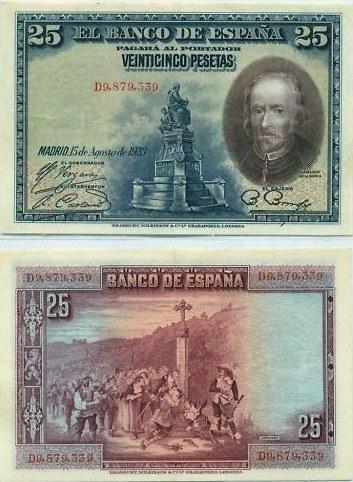 25 Pesetas Španielsko 1928, Pick 74