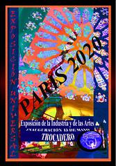 Cartel. Exposición Universal (seguicollar) Tags: imagencreativa photomanipulación art arte artecreativo artedigital virginiaseguí color colorido colores parís torreeiffel cartel exposiciónuniversal letras rosetón notredame