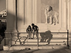 Two boys playing in front of Scuola Grande di San Marco   (IMG_6849_E) (from_the_sky) Tags: venice 2015 mpt531 matchpointwinner t531 matchpoint scuolagrandedisanmarco