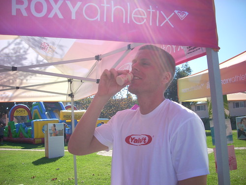 Enjoying Some Yakult at the Athletix College Tour