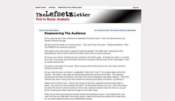 Lefsetz Letter » Blog Archive » Empowering The Audience_1256786612969