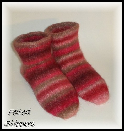 M's slippers felted