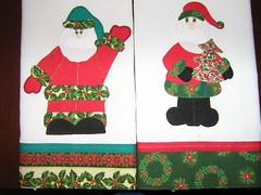 Natal, Natal Natal! Panos de Prato Papai Noel acenando e Papai Noel com rvore de Natal. Encomenda Pronta! (coisas_da_Li) Tags: natal papainoel cozinha aplicao encomenda rvoredenatal enxoval patchcolagem panodeprato coisasdecamamesaebanho
