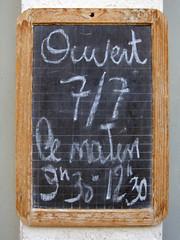 Blackboard Opening Times