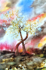 Art: Watercolour: ...love is in the air...inspired by the song of John Paul Young (Nadia Minic) Tags: trees man love women song blossoms watercolour wintertime luxembourg loveisintheair johnpaulyoung concordians nadiaminic