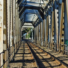 Back to the bridge, up-close (...-Wink-...) Tags: railroad bridge steel tracks truss nikkor50mm18 venturacalifornia nikond80