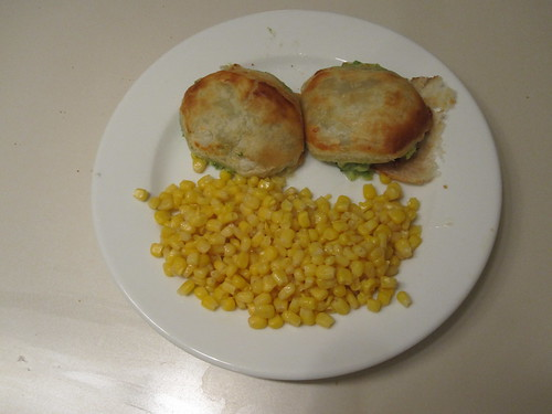 Broccoli turnovers, corn