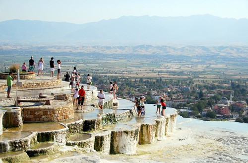 tourists at the travertines, pamukkale