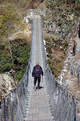 Suspension bridge near Lukla Photo