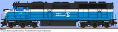 GN F45 433 (alco_dl500b) Tags: railroad blue sky burlington train michael big drawing d great drawings railway bn f45 northern gn 433 emd eby balkauskas
