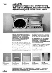Braun 1969 Audio 300 (teddy_qui_dit) Tags: vintage advertising 60s stereo 70s 300 braun dieterrams seventies audio publicit hifi sixties usermanual