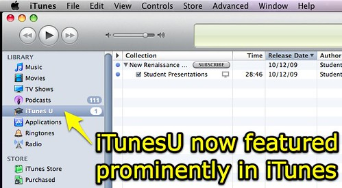 iTunesU featured prominently in iTunes
