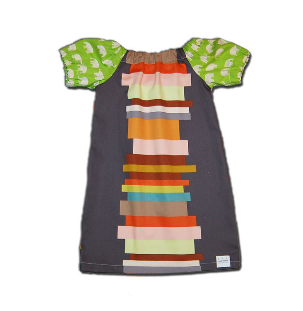 BOOKS AND ELEPHANTS DRESS - Super Chic - Super Cool Mod Dress for Baby or Toddler - by Joey & Aleethea