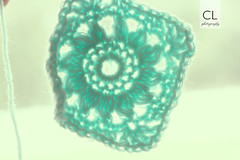Granny Square (The Sometimes Crafter) Tags: blue flower square aqua crochet yarn granny