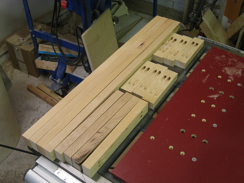 alder scraps cut and drilled for assembly