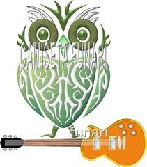 desenho coruja tatoo guitarra rock tatuagem