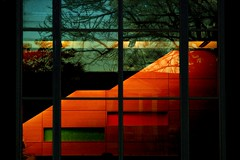 2010:01:19__17:37:25 (MilkaWay) Tags: orange cold green window glass architecture reflections georgia warm athens staircase uga newbuilding day19 2010 universityofgeorgia clarkecounty bleen pharmacyschool