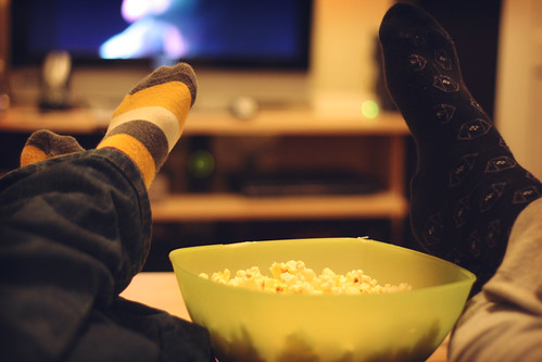 movie, feet and popcorn